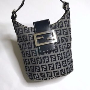 Fendi Vintage Mini Purse Bag Monogram Navy Blue
